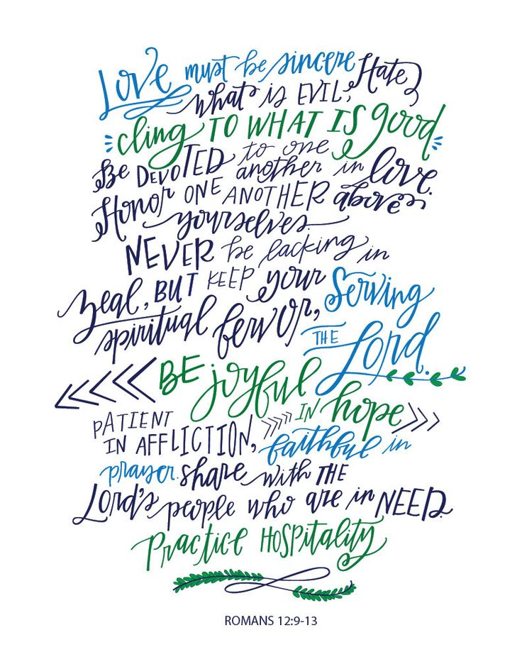 Romans 12:9-13 by letteringlovely on Etsy                                                                                                                                                                                 More