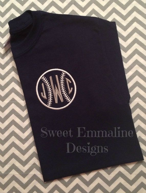 baseballsoftball embroidered monogram tee by sweetemmalinedesigns softball shirt ideassoftball - Softball Jersey Design Ideas