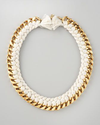 white braided chain necklace