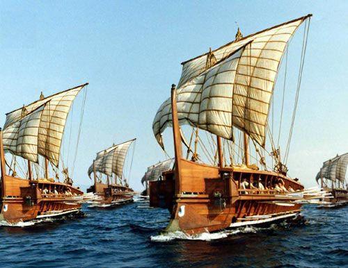 Trirremes griegas Imagen de Wikimedia Commons