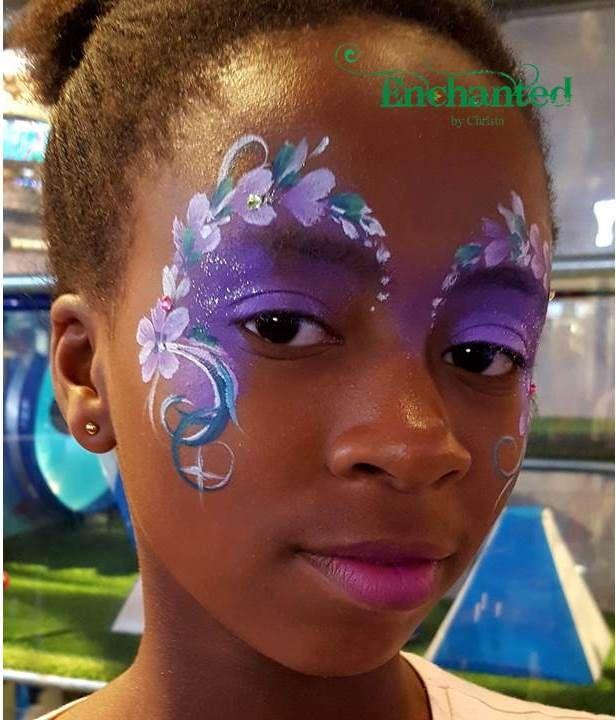 Delicate flower face paint design for girls