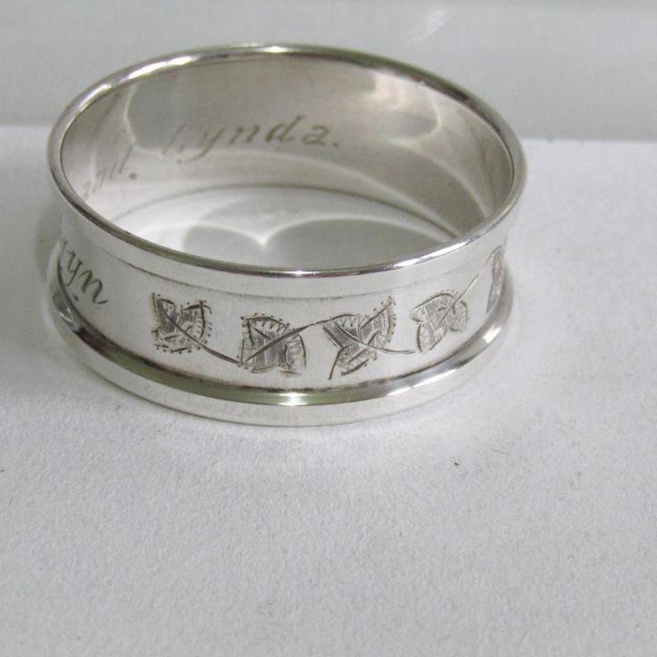 Vintage Hallmarked Solid Silver Napkin Ring - Kathryn, Engraved Leaves-Sheffield #HenryGriffithsSons