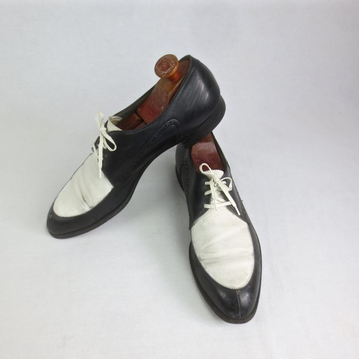 Vintage 1950's Man's 2 TONE Shoes-Black & White Leather Lace-Up Shoes w/ Wooden Shoe Stretchers 11 by delilahsdeluxe on Etsy