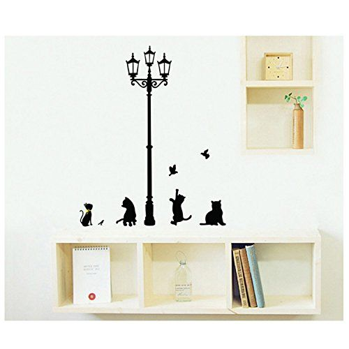 Black cat under the streetlights global landmarks reference wall decal paper, the sitting room the bedroom stickers >>> This is an Amazon Affiliate link. Check this awesome product by going to the link at the image.