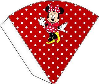 Minnie Mouse en rojo: tarjetería para imprimir gratis.