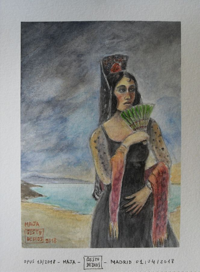 Maja, 2018 (Opus 13/2018) - Acuarela sobre papel, 19,5 x 14,8 cm. Watercolour on paper. Aquarelle sur papier. Mujer con mantilla. #gestodedios
