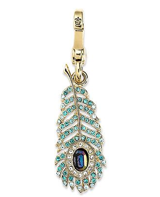 Juicy Couture Charm, Gold Tone Glass Peacock Feather Charm - Fashion Jewelry - Jewelry & Watches - Macy's