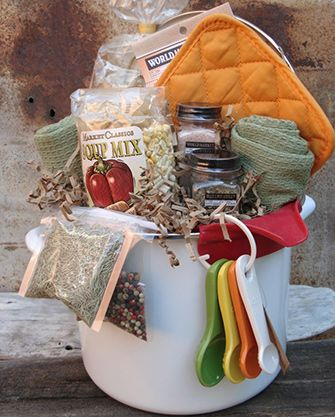 Unique Gift Basket, soup pot, soup mix, pot holders, spices, etc. Cute for housewarming gift, bridal/couple wedding shower or gift, hostess gift, do chicken soup for a get well gift