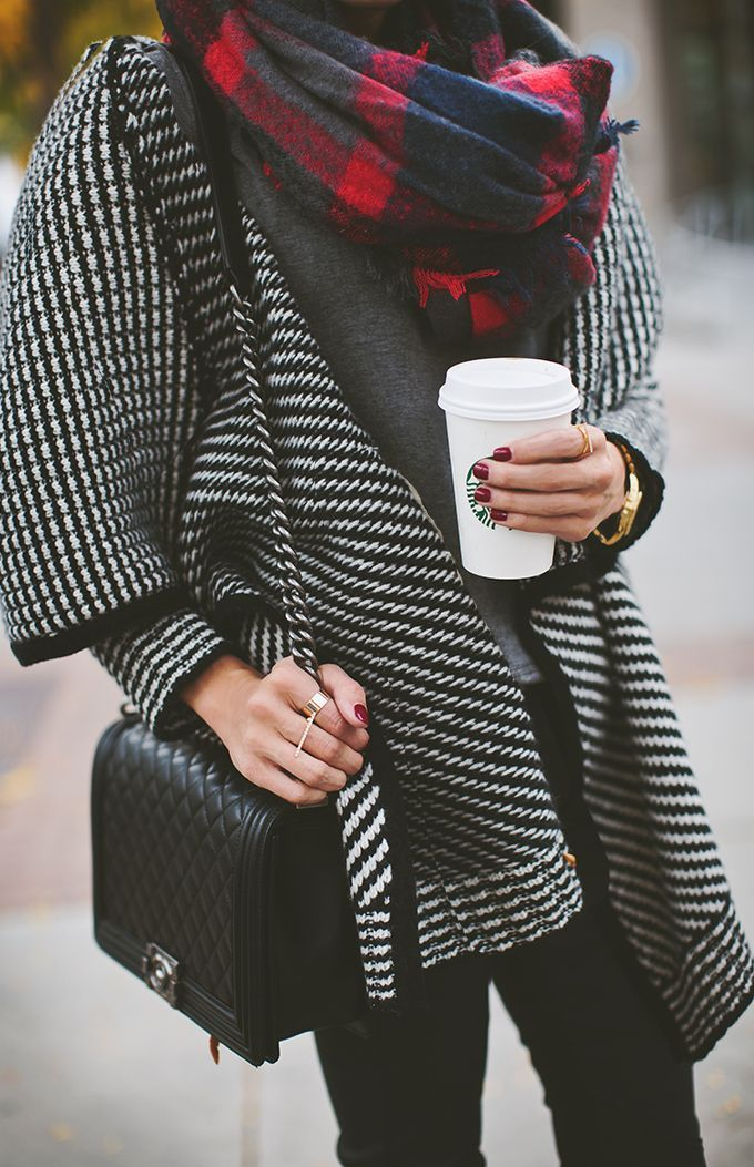 #fall #fashion / houndstooth knit + plaid scarf