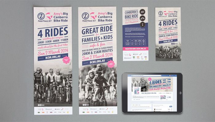 http://www.spectrumgraphics.com.au Pedal Power, Amy's Big Canberra Bike Ride, Branding Material, design, artwork, layout, typesetting, publication, flyer, graphic design, infographics, business cards, contents page, front cover, internal spread, cycling, bikes, bike, ride