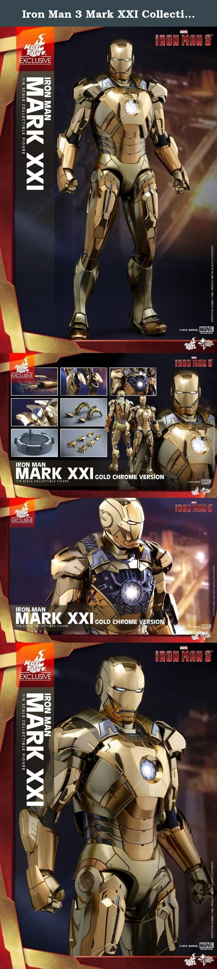 "Iron Man 3 Mark XXI Collectible Figure MMS341 (Gold Chrome Version). The new version of the 1/6th scale collectible figure that has been highly-popular among fans - the Iron Man Midas Mark XXI (Gold Chrome Version). Built for the ""House Party Protocol"" in Iron Man 3 by Tony Stark as a high-altitude suit, this Midas Mark XXI collectible figure features all-new gold chrome armor parts throughout the body complementing the multitude layers and shades of metallic gold color, LED light-up..."