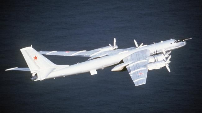 Aggressive act ... A Tu-142 bomber similar to the two which charged towards a US aircraft carrier earlier this week. Source: Supplied