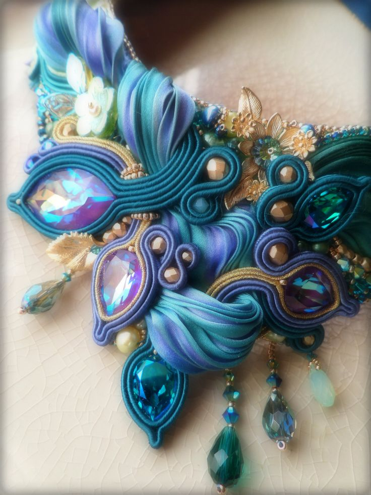 """""""LIZ"""" Necklace (detail) - Designed by Serena Di Mercione - Soutache, bead embroidery. --- Shibori silk ribbon, Swarovski, pearls"""
