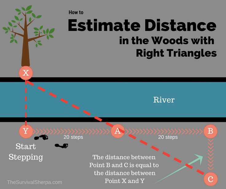 How to estimate distance in the woods with right triangles