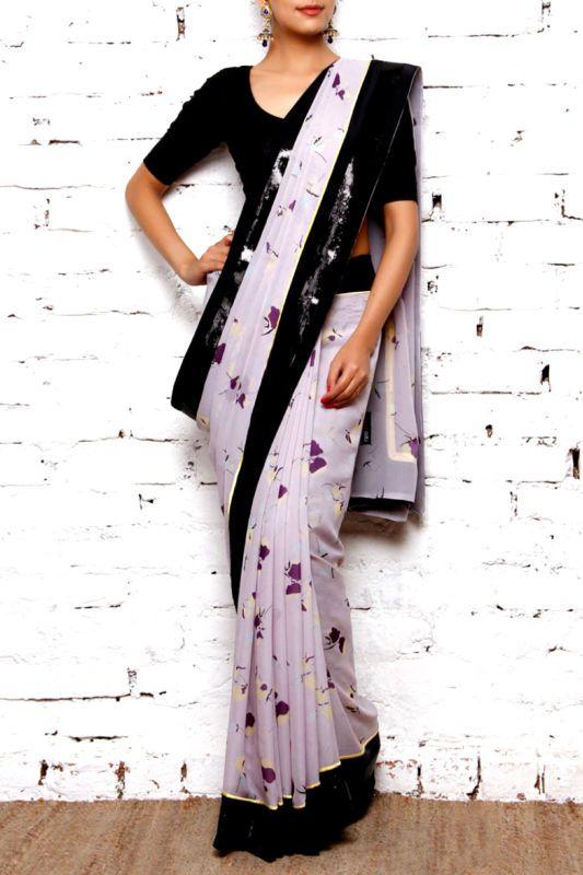 Lilac Printed #Saree With Black #Blouse & Border.