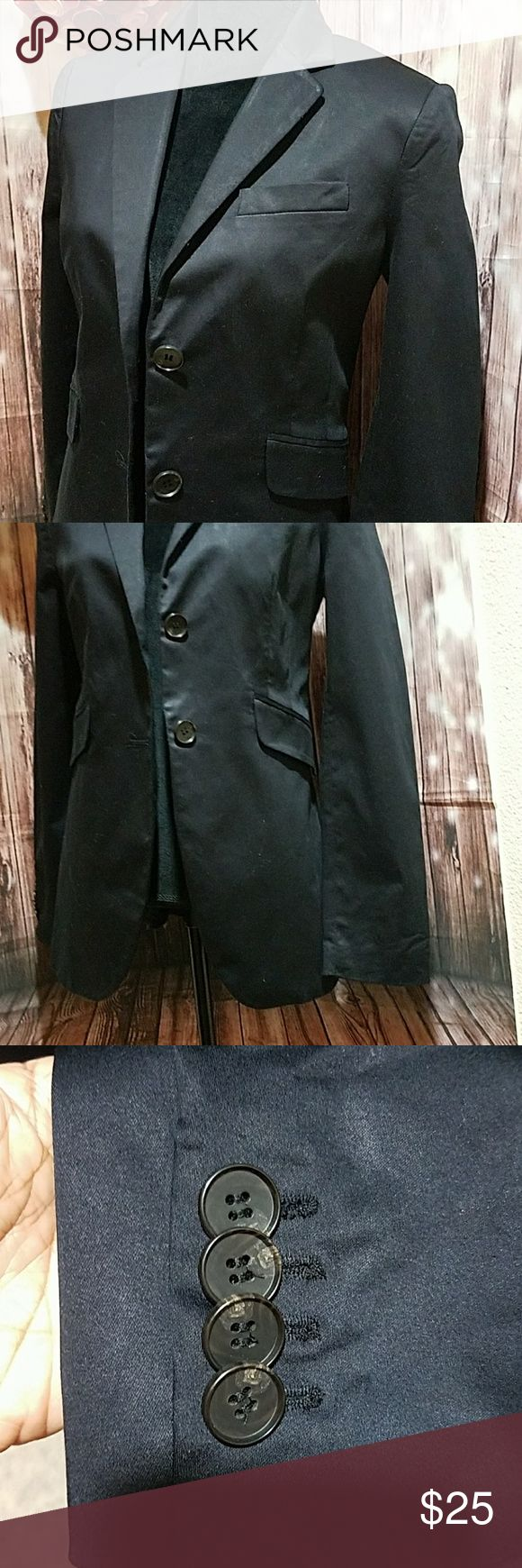 """Mango Black Blazer Black cotton jacket with 2 button closure, 2 slanted faux pockets on front waist area, and 1 working pocket on left bust. Lined. Split at back - still sewn together. L - 28"""", sleeve L - 25"""" approximately, B - 19"""". US large. Great condition. Mango Jackets & Coats Blazers"""