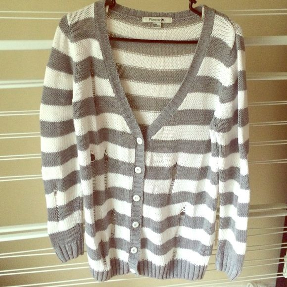Stripped Distressed Knit Cardigan Well loved but in great condition with only slight piling. Boyfriend style. Perfect with an infinity scarf, messy topknot, and sexy librarian glasses for a casual look! Forever 21 Sweaters Cardigans