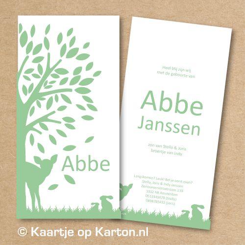 Geboortekaartje Abbe boom en hertje op wit karton - Kaartjes van Karton | geboortekaartjes, trouwkaarten zeefdruk