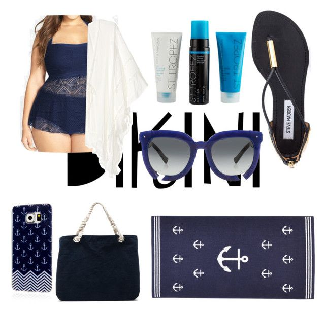 """Blue"" by jana40299 ❤ liked on Polyvore featuring Steve Madden, Frame Denim, Samsung, Grey Ant, stylishcurves and plussizeswimsuit"