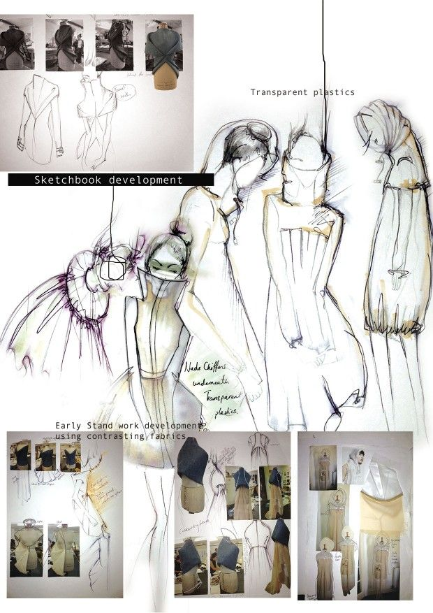 fashion sketchbook development fashion design sketches and experiments with mixed fabrics and transparent plastics