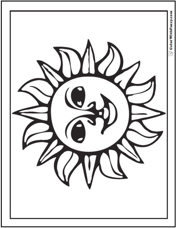 Fiesta Mexican Sun Coloring Page Check Out Www Colorwithfuzz