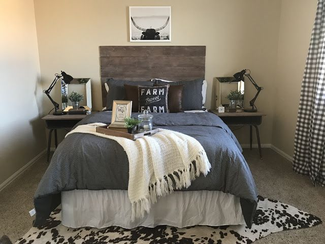 J Hegland Home Before And Afters Guest Bedroom Mix Pattern Buffalo Check Cow Hide Diy Cowhide Rug C Cow Rug Bedroom Home Decor Bedroom Farmhouse Bedroom Decor