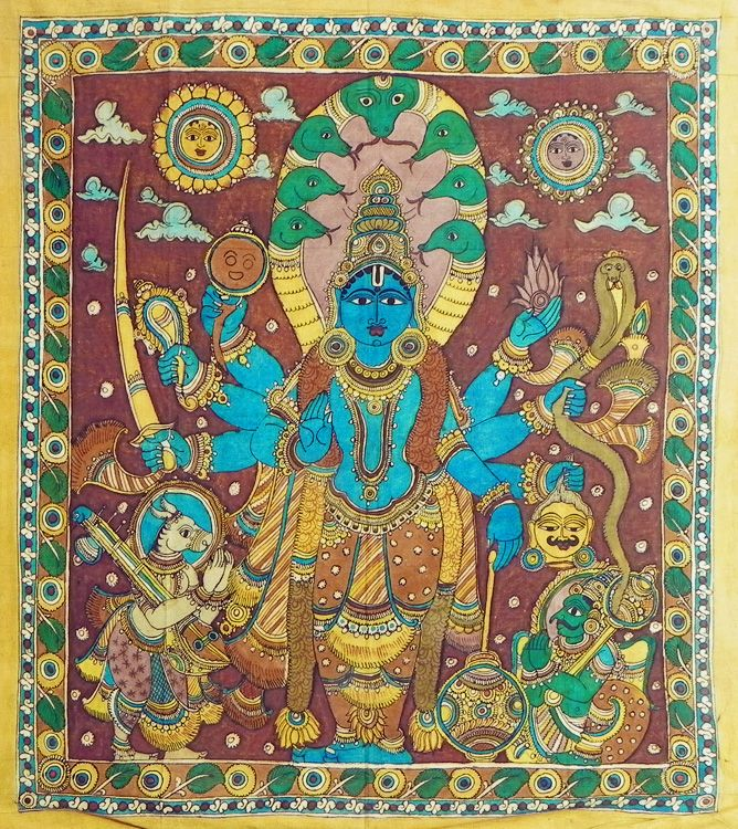Eight Handed Vishnu (Kalamkari Paintings on Cotton - Unframed))