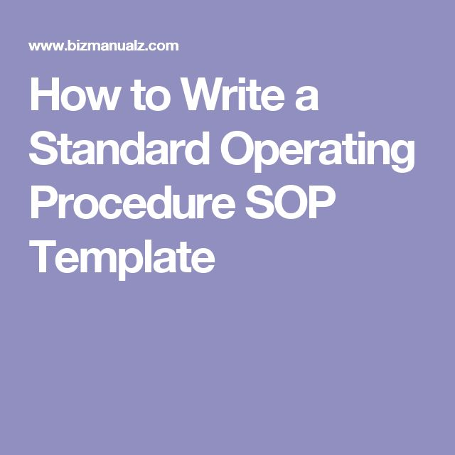 Best  Standard Operating Procedure Template Ideas On