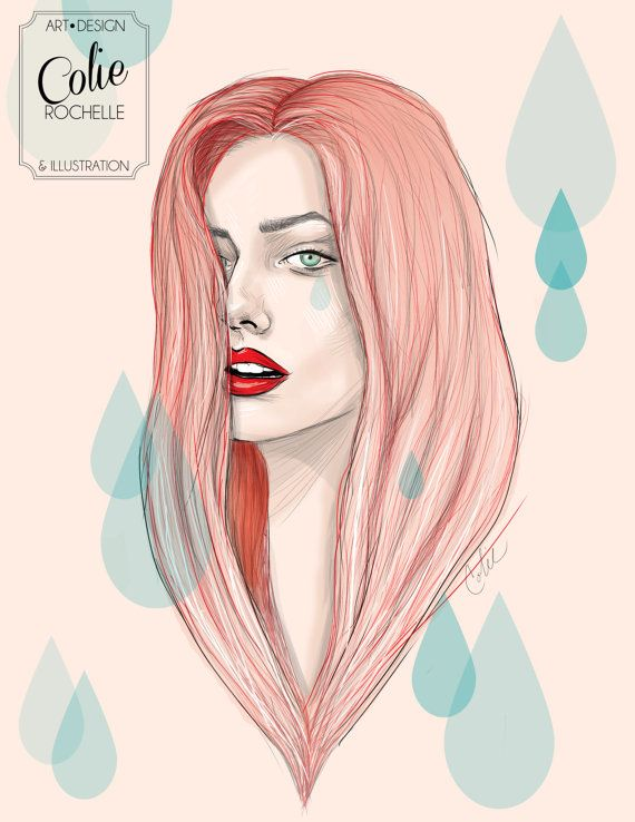 Girly Red Hair Illustration Drawing Hippy Vintage colorful tear drops red lips artwork original unique