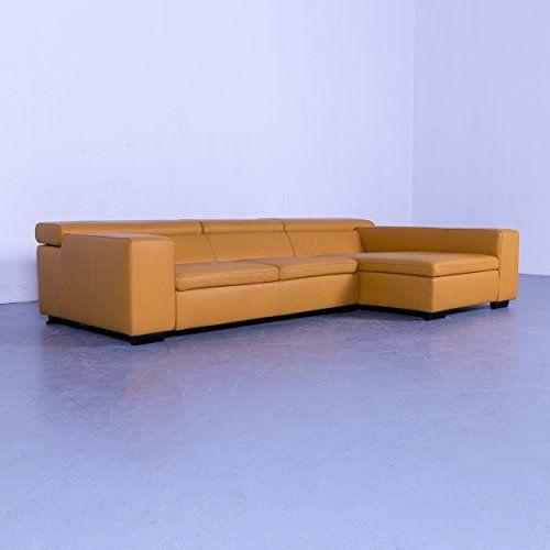 Willi Schillig Designer Leder Sofa Orange Gelb Ecksofa Couch Echtleder Funktion 5399 Couch Settee Sectional Couch