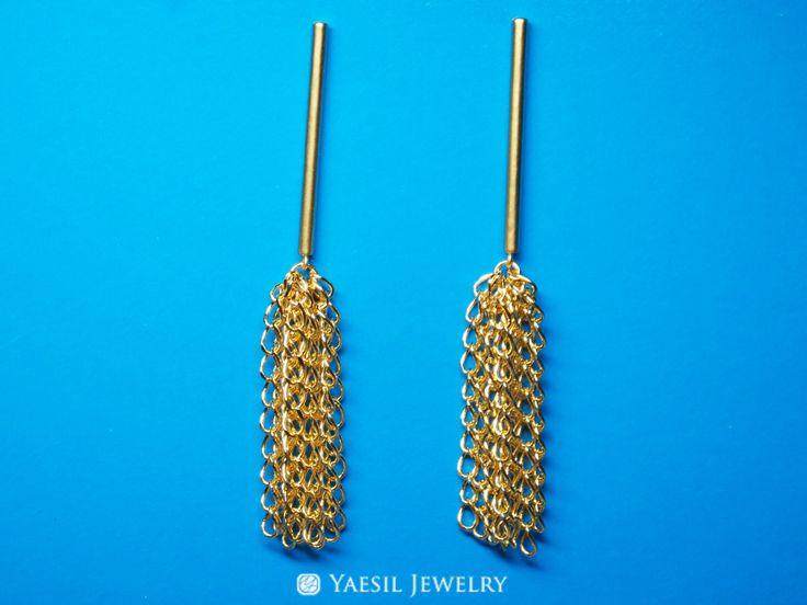 Chain Tassel Earrings, Bar Earrings, Chain Tassel with Bar Earrings, Waterfall Earrings, Everyday Beautiful Earrings, Sterling Silver Post by YaesilJewelry on Etsy