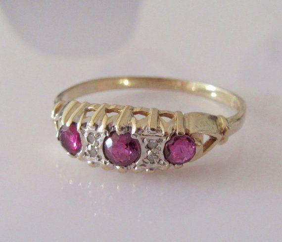 9ct Gold Half Band Ruby and Diamond Ring by Britishgoldandsilver