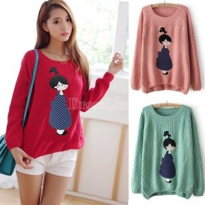 $6.53 Korea Girl Cartoon College Style Applique Loose Pullover Knitted Sweater