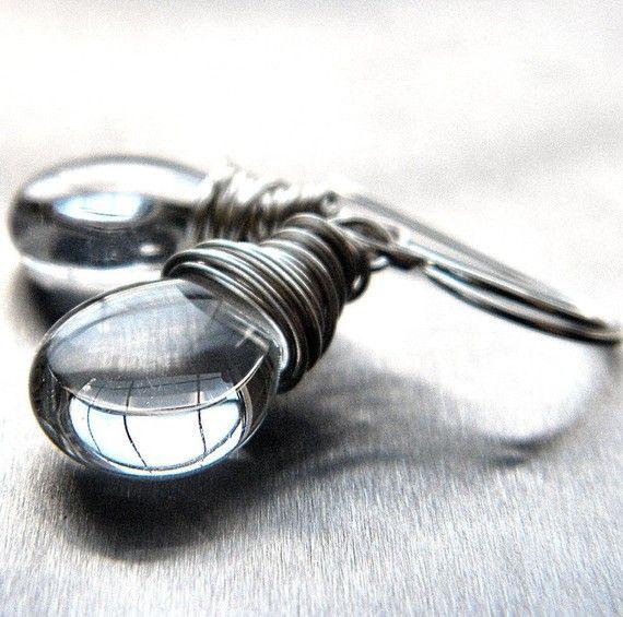 Silver Earrings Ice Clear Glass Teardrop Bright by GlitzGlitter