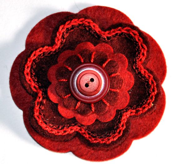 Embroidered Felt Flower Button Brooch by CharlieLaurieDesigns, £7.99