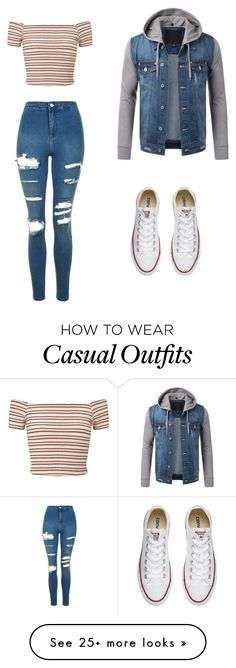 """casual"" by jojozuka on Polyvore featuring Miss Selfridge, Topshop and Converse"