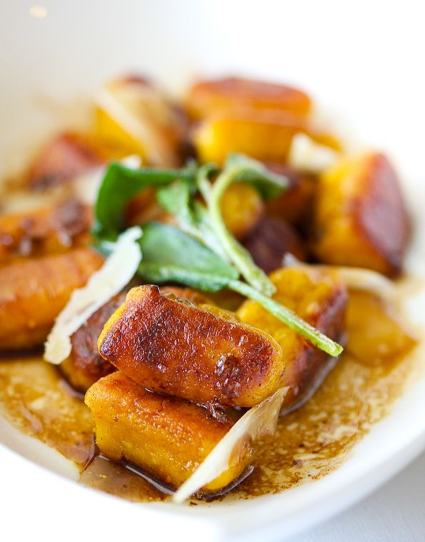 I had some canned pumpkin in the back of my pantry and can't wait to use it to make this pan-fried pumpkin gnocchi! It's topped off with a brown butter sage sauce: an easy, delicious complement to any Italian pasta dish. (In my class in Florence, we prepared a homemade spinach ravioli and doused it in a butter and sage sauce. Buon appetito!)