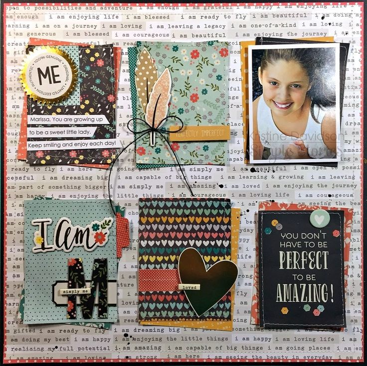 "Could make into 8.5 x 11 layout just use 4 3"" squares.   by Kristine Davidson: I Am Simply Me 