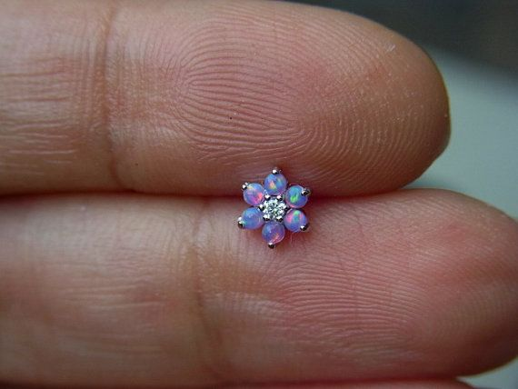 Purple Opal gems flower bio flexible labret
