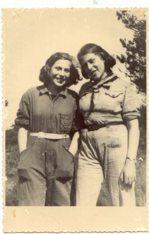 Portrait of two teenage sisters in the Westerbork transit camp. Pictured are Sibyll and Ruthild Gruenthal. They sailed on the St. Louis but were returned to Holland. Both perished at Auschwitz ~
