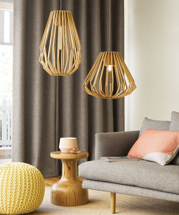 Beacon Lighting - Stockholm flair squat pendant in natural wood with brushed chrome canopy, see below for detailed description