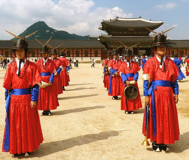 Seoul, South Korea: Gyeongbukgung Palace, the most important — and arguably the most beautiful of five Great Palaces of the Joseon Dynasty