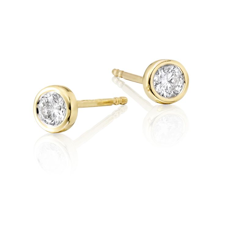 This Stunning Pair Of Solitaire Diamond Studs Have A Brilliant Round Diamonds Totalling 0 30