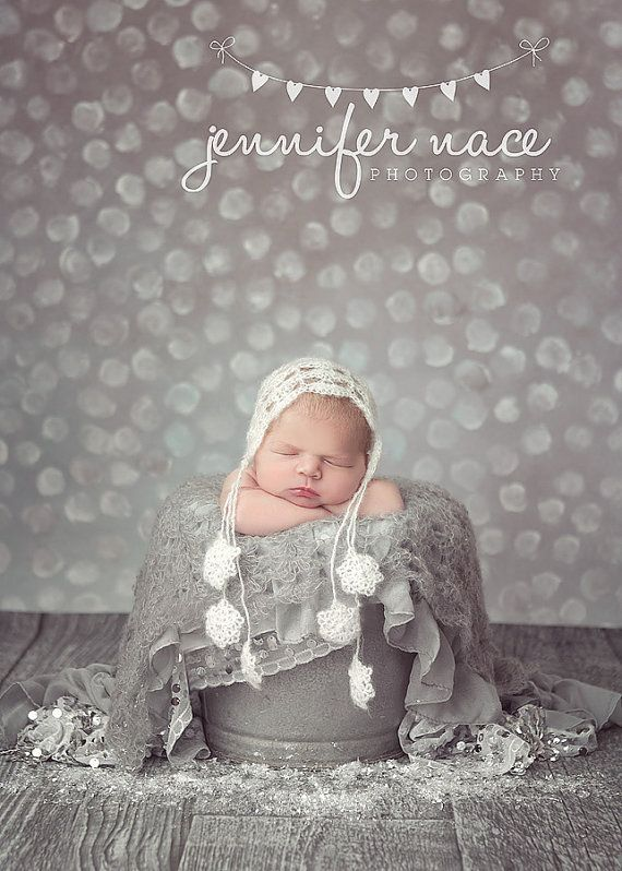 Newborn Snowflake Mohair Bonnet Couture by PeekABootiqueDesigns