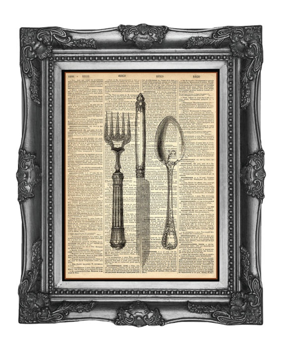Vintage Book or Newspaper w/Vintage Cutlery (this is a print, but could use real!)