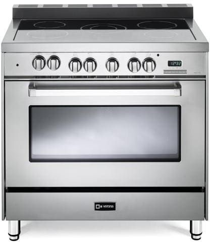 Verona VEFSEE365 36 Inch Freestanding Electric Range with 4.0 cu. ft. Convection Oven, 5-Burner Cooktop with 7,900 Watts, 7 Cooking Modes, 2 Heavy Duty Racks, Digital Clock and Timer and Storage Drawer