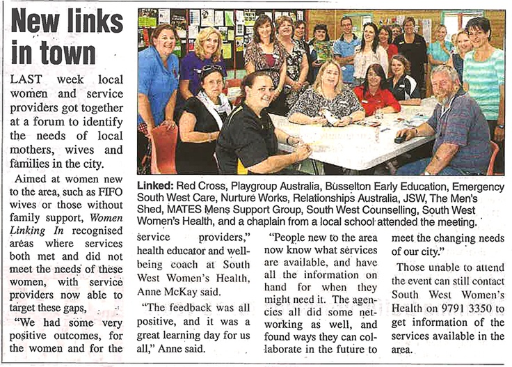 New Links in Town - newspaper article in today's Busselton Dunsborough Times, page 14.