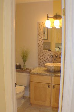 Powder Room Small Bathroom Design   Mosaics Around Window Part 92