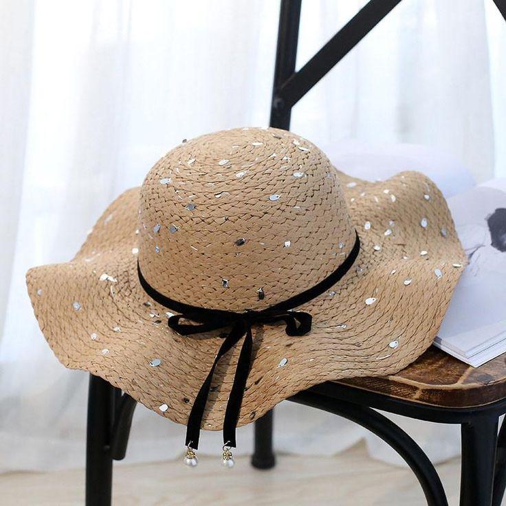 2017 New Summer Straw Hat For Women Girls Beach Hats Sequin Bowknot Outdoor Large Wide Brim Panama Female Sun Hat Chapeau Femme