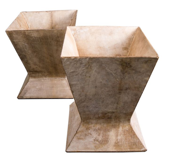 Pair of Parchment Waste Baskets